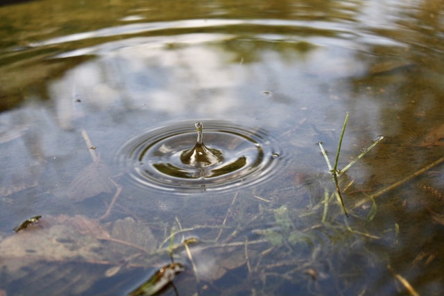 Tropfen im Wasser